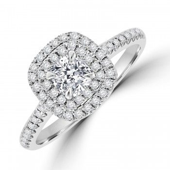 Platinum Cushion cut GVS1 Diamond Double Halo Ring