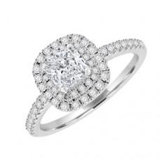 Platinum Solitaire Cushion ESi1 Diamond Halo Cluster Ring