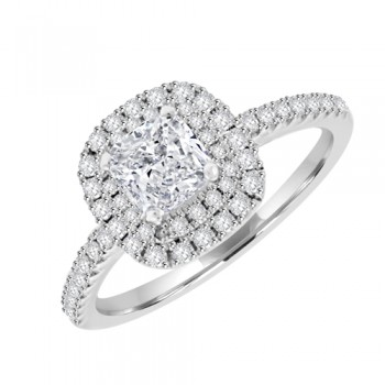 Platinum Solitaire Cushion ESi1 Diamond Halo Cluster Ring
