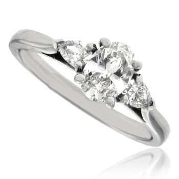 Platinum 3-Stone Oval & Pear cut Diamond Ring