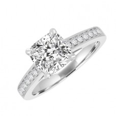 Platinum Solitaire Cushion Diamond Ring Stone Shoulders
