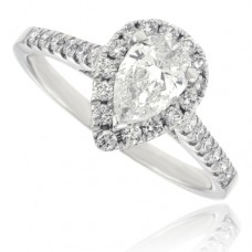 Platinum Pear cut Solitaire Diamond Halo Ring .55pr GSI1/.33Hal