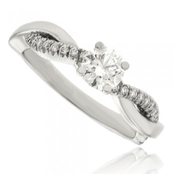 Platinum Diamond Solitaiire Twist Shank Ring