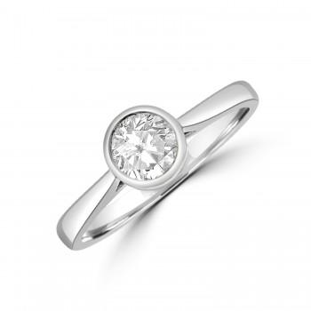 Platinum Solitaire .50ct Diamond Rubover Ring