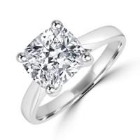 Platinum Solitaire 2.01ct Cushion cut Diamond Ring