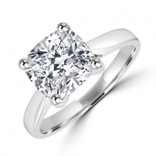 Platinum Solitaire 2.01ct Cushion cut Diamond Ring