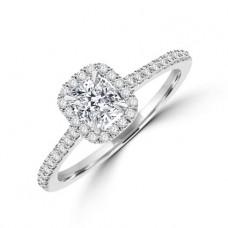 Platinum Solitaire Cushion cut Diamond Halo Ring
