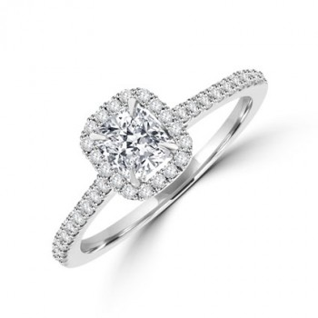 Platinum Solitaire Cushion cut Diamond Halo Ring