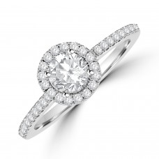 Platinum Solitaire DSi2 Diamond Halo Ring