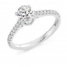 Platinum Oval Solitaire .81ct Diamond Ring