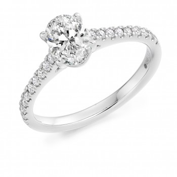 Platinum Oval Solitaire .81ct Diamond Ring