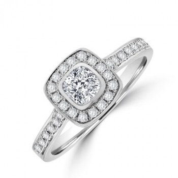 Platinum Cushion cut Solitaire Diamond Halo Ring