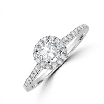 Platinum Solitaire FSi1 Diamond Halo Ring