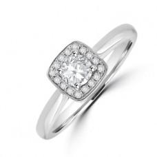 Platinum Solitaire Diamond Cushion Halo Ring