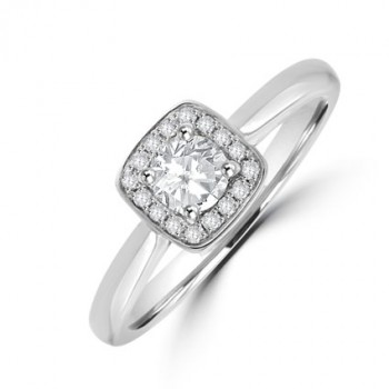 Platinum Solitaire Diamond Cushion Halo Ring