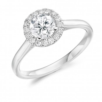Platinum Solitaire Diamond Halo Ring