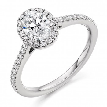 Platinum Oval Solitaire DVS1 Diamond Halo Ring