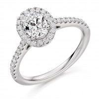 Platinum Solitaire Oval EVS2 Diamond Halo Ring
