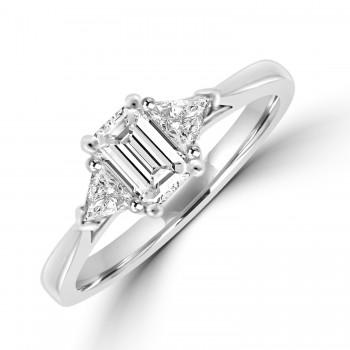 Platinum Emerald cut Solitaire with Trillions Ring