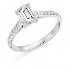 Platinum Emerald cut HVS2 Diamond Solitaire Ring