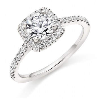 Platinum Solitaire Diamond Cushioned Halo Ring