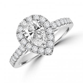Platinum Pear cut Diamond Halo Ring