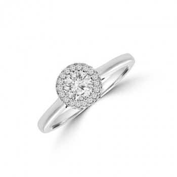 Platinum Solitaire Diamond 3D Halo Ring