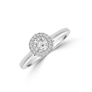 Platinum Solitaire Diamond 3D Halo Ring
