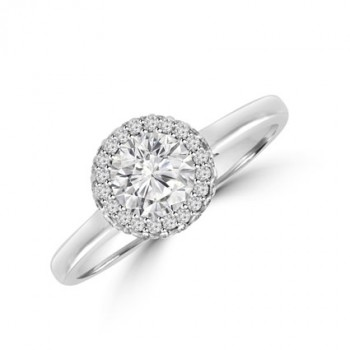 Platinum Solitaire Diamond 3D-Halo Ring