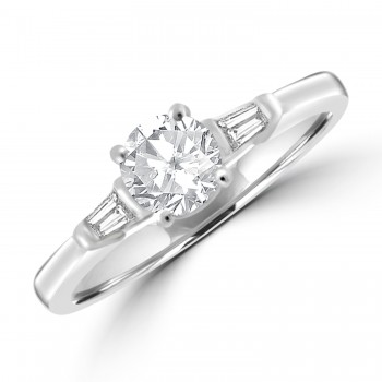 Platinum Diamond Solitaire & Baguette Ring