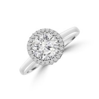 Platinum Solitaire FVS1 Diamond 3D-Halo Ring