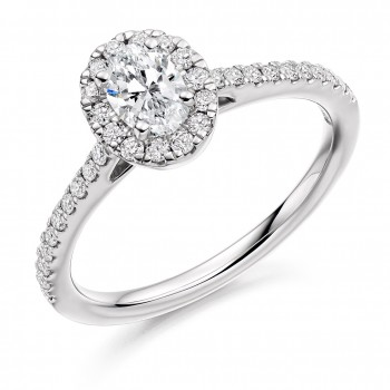 Platinum Solitaire Diamond Oval Halo Ring