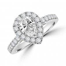 Platinum Pear cut ESi1 Diamond Halo Ring