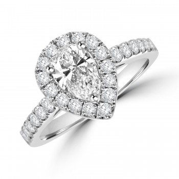 Platinum Pear cut HVS1 Diamond Halo Ring