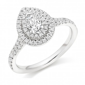 Platinum Pear cut Double Halo DVS1 Diamond Ring