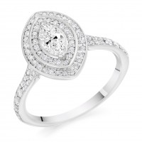 Platinum Marquise cut Diamond Double Halo Ring