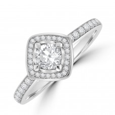 Platinum Solitaire GVS1 Diamond Compass Halo Ring