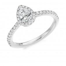Platinum Pear FVS2 Diamond Halo Ring