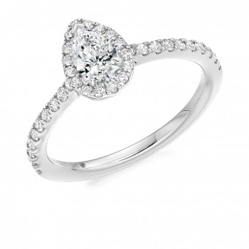 Platinum Pear cut EVVS1 Diamond Halo Ring