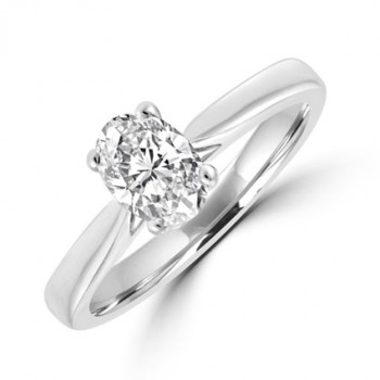Platinum Oval cut Solitaire .70DSi1 Diamond Ring