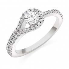 Platinum Solitaire ESi1 Diamond Halo Overlap Ring