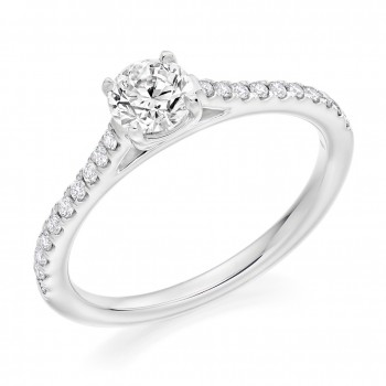 Platinum Solitaire GVS1 Diamond Ring with set shoulders