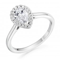 Platinum Pear cut DVS1 Diamond Halo Ring