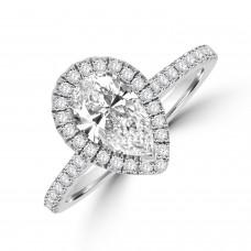 Platinum Solitaire GSI1 Diamond Pear Halo Ring