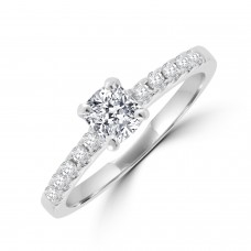 Platinum Solitaire Cushion EVS1 Diamond Ring