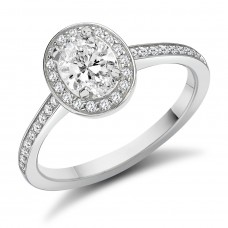 Platinum Oval GSi1 Diamond Halo Ring