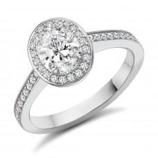 Platinum  Oval Solitaire GSi1 Diamond Halo Ring