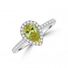 Platinum Pear cut Yellow Diamond Halo Ring
