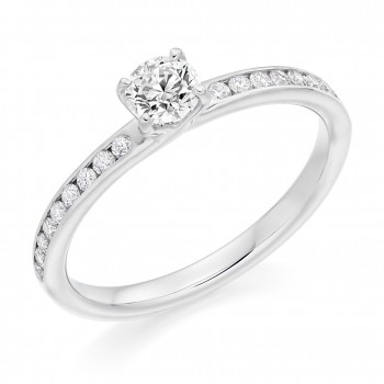 Platinum DVS2 Diamond Solitaire with Channelled Shoulders