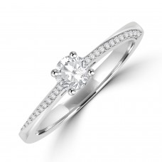 Platinum Solitaire Diamond with Twist Diamond Shoulders